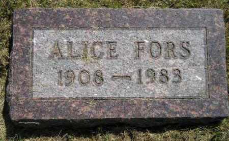 FORS, ALICE - Miner County, South Dakota | ALICE FORS - South Dakota Gravestone Photos