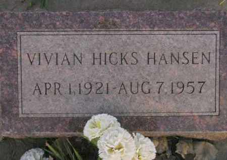 HICKS HANSEN, VIVIAN - Miner County, South Dakota | VIVIAN HICKS HANSEN - South Dakota Gravestone Photos