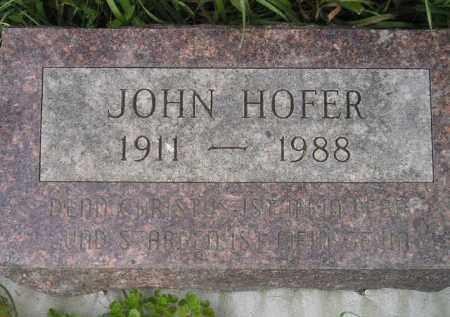 HOFER, JOHN - Miner County, South Dakota   JOHN HOFER - South Dakota Gravestone Photos