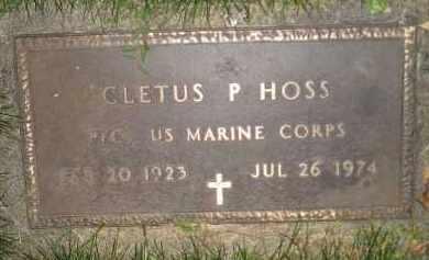 HOSS, CLETUS P. - Miner County, South Dakota | CLETUS P. HOSS - South Dakota Gravestone Photos