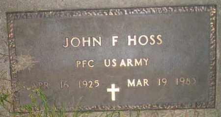 HOSS, JOHN F. - Miner County, South Dakota | JOHN F. HOSS - South Dakota Gravestone Photos