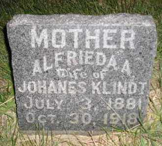 KLINDT, ALFRIEDA A. - Miner County, South Dakota   ALFRIEDA A. KLINDT - South Dakota Gravestone Photos