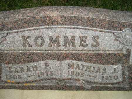 KOMMES, SARAH F. - Miner County, South Dakota | SARAH F. KOMMES - South Dakota Gravestone Photos