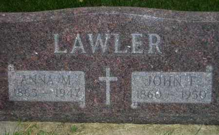LAWLER, ANNA M. - Miner County, South Dakota | ANNA M. LAWLER - South Dakota Gravestone Photos