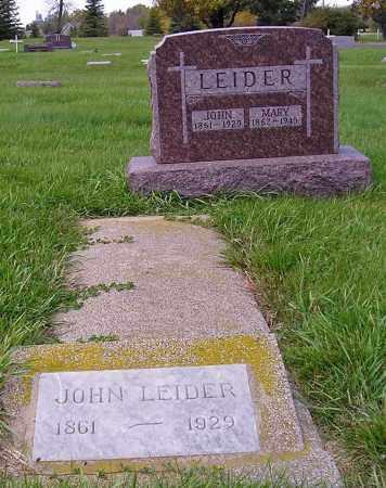 LEIDER, PLOT-JOHN & MARY - Miner County, South Dakota   PLOT-JOHN & MARY LEIDER - South Dakota Gravestone Photos