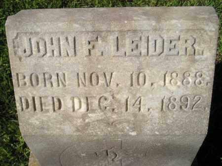 LEIDER, JOHN F. - Miner County, South Dakota   JOHN F. LEIDER - South Dakota Gravestone Photos