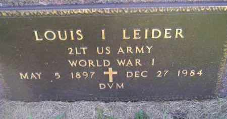 LEIDER, LOUIS I. (WW I) - Miner County, South Dakota | LOUIS I. (WW I) LEIDER - South Dakota Gravestone Photos