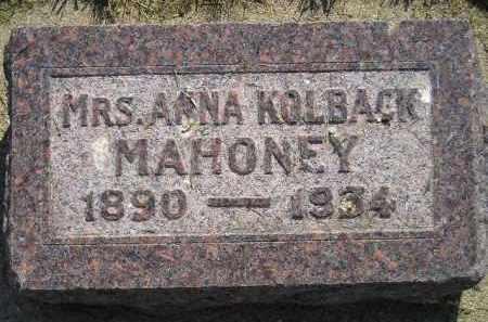 KOLBACK MAHONEY, ANNA - Miner County, South Dakota | ANNA KOLBACK MAHONEY - South Dakota Gravestone Photos