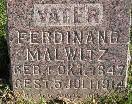 MALWITZ, FERDINAND - Miner County, South Dakota   FERDINAND MALWITZ - South Dakota Gravestone Photos