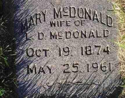 MCDONALD, MARY - Miner County, South Dakota | MARY MCDONALD - South Dakota Gravestone Photos
