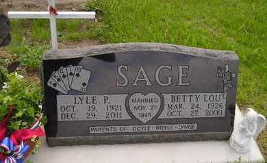 SAGE, BETTY LOU - Miner County, South Dakota | BETTY LOU SAGE - South Dakota Gravestone Photos
