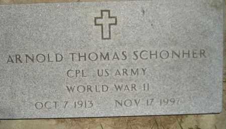 SCHONHER, ARNOLD THOMAS (WW II) - Miner County, South Dakota | ARNOLD THOMAS (WW II) SCHONHER - South Dakota Gravestone Photos