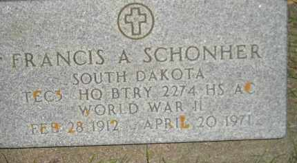 SCHONHER, FRANCIS A. (WW II) - Miner County, South Dakota | FRANCIS A. (WW II) SCHONHER - South Dakota Gravestone Photos