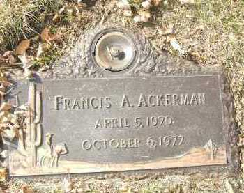 ACKERMAN, FRANCIS A. - Minnehaha County, South Dakota | FRANCIS A. ACKERMAN - South Dakota Gravestone Photos
