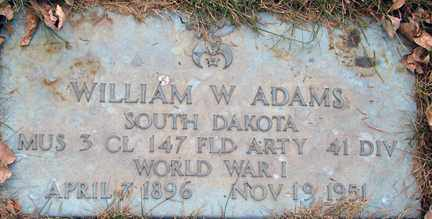 ADAMS, WILLIAMS W. (MILITARY) - Minnehaha County, South Dakota | WILLIAMS W. (MILITARY) ADAMS - South Dakota Gravestone Photos
