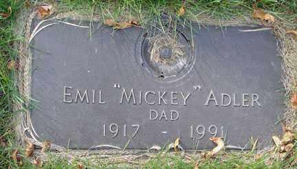 "ADLER, EMIL ""MICKEY"" - Minnehaha County, South Dakota | EMIL ""MICKEY"" ADLER - South Dakota Gravestone Photos"