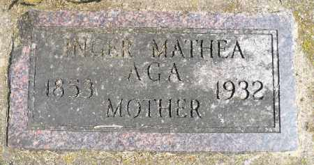 AGA, INGER MATHEA - Minnehaha County, South Dakota | INGER MATHEA AGA - South Dakota Gravestone Photos