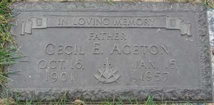 AGETON, CECIL E. - Minnehaha County, South Dakota   CECIL E. AGETON - South Dakota Gravestone Photos
