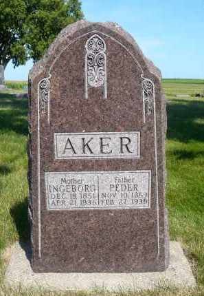 AKER, PEDER - Minnehaha County, South Dakota | PEDER AKER - South Dakota Gravestone Photos