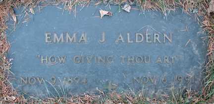 ALDERN, EMMA J. - Minnehaha County, South Dakota | EMMA J. ALDERN - South Dakota Gravestone Photos