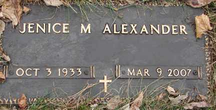 ALEXANDER, JENICE M. - Minnehaha County, South Dakota | JENICE M. ALEXANDER - South Dakota Gravestone Photos