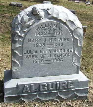 ALGUIRE, MARY J. - Minnehaha County, South Dakota | MARY J. ALGUIRE - South Dakota Gravestone Photos
