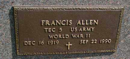 ALLEN, FRANCIS - Minnehaha County, South Dakota   FRANCIS ALLEN - South Dakota Gravestone Photos