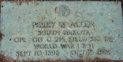 ALLEN, PERRY W. - Minnehaha County, South Dakota | PERRY W. ALLEN - South Dakota Gravestone Photos