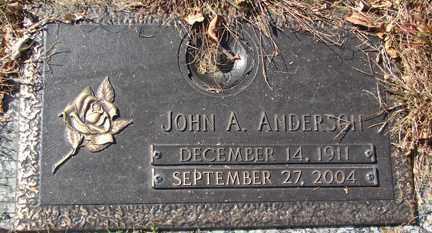 ANDERSON, JOHN A. - Minnehaha County, South Dakota | JOHN A. ANDERSON - South Dakota Gravestone Photos