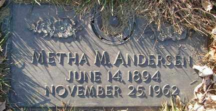 ANDERSEN, METHA M. - Minnehaha County, South Dakota   METHA M. ANDERSEN - South Dakota Gravestone Photos