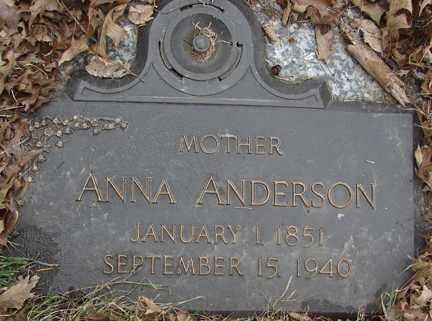 ANDERSON, ANNA - Minnehaha County, South Dakota   ANNA ANDERSON - South Dakota Gravestone Photos