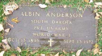 ANDERSON, ALBIN - Minnehaha County, South Dakota | ALBIN ANDERSON - South Dakota Gravestone Photos