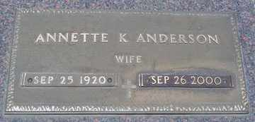 ANDERSON, ANNETTE K. - Minnehaha County, South Dakota | ANNETTE K. ANDERSON - South Dakota Gravestone Photos