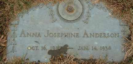 ANDERSON, ANNA JOSEPHINE - Minnehaha County, South Dakota | ANNA JOSEPHINE ANDERSON - South Dakota Gravestone Photos