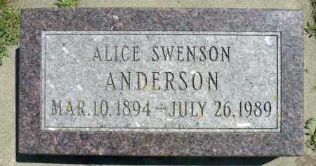 SWENSON ANDERSON, ALICE SOPHIA - Minnehaha County, South Dakota | ALICE SOPHIA SWENSON ANDERSON - South Dakota Gravestone Photos
