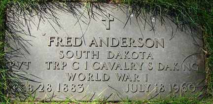 ANDERSON, FRED - Minnehaha County, South Dakota | FRED ANDERSON - South Dakota Gravestone Photos
