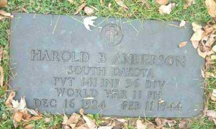 ANDERSON, HAROLD BURTON - Minnehaha County, South Dakota | HAROLD BURTON ANDERSON - South Dakota Gravestone Photos