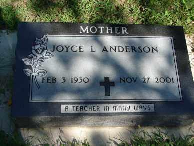 ANDERSON, JOYCE L, - Minnehaha County, South Dakota | JOYCE L, ANDERSON - South Dakota Gravestone Photos