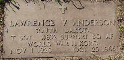 ANDERSON, LAWRENCE V. - Minnehaha County, South Dakota   LAWRENCE V. ANDERSON - South Dakota Gravestone Photos