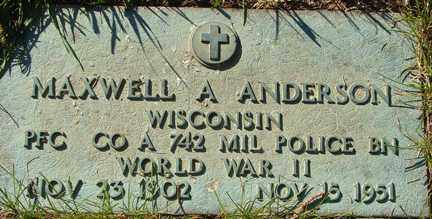 ANDERSON, MAXWELL A. - Minnehaha County, South Dakota | MAXWELL A. ANDERSON - South Dakota Gravestone Photos