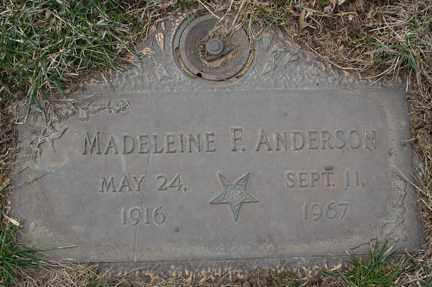 ANDERSON, MADELEINE F. - Minnehaha County, South Dakota | MADELEINE F. ANDERSON - South Dakota Gravestone Photos