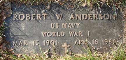 ANDERSON, ROBERT W. - Minnehaha County, South Dakota | ROBERT W. ANDERSON - South Dakota Gravestone Photos