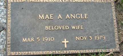 ANGLE, MAE A. - Minnehaha County, South Dakota   MAE A. ANGLE - South Dakota Gravestone Photos