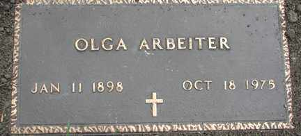 ARBEITER, OLGA - Minnehaha County, South Dakota | OLGA ARBEITER - South Dakota Gravestone Photos