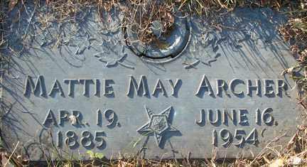 ARCHER, MATTIE MAY - Minnehaha County, South Dakota   MATTIE MAY ARCHER - South Dakota Gravestone Photos