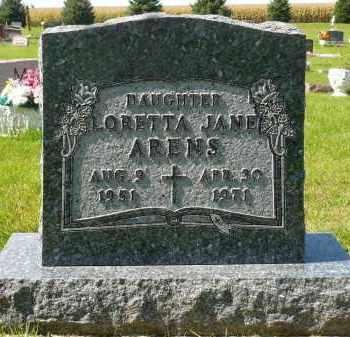 ARENS, LORETTA JANE - Minnehaha County, South Dakota | LORETTA JANE ARENS - South Dakota Gravestone Photos