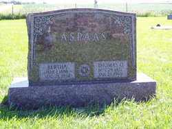 ASPAAS, BERTHA - Minnehaha County, South Dakota | BERTHA ASPAAS - South Dakota Gravestone Photos