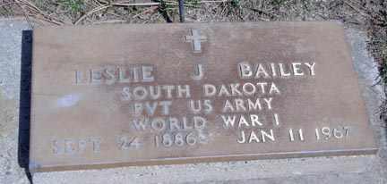 BAILEY, LESLIE J. - Minnehaha County, South Dakota | LESLIE J. BAILEY - South Dakota Gravestone Photos