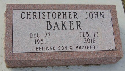 BAKER, CHRISTOPHER JOHN - Minnehaha County, South Dakota | CHRISTOPHER JOHN BAKER - South Dakota Gravestone Photos