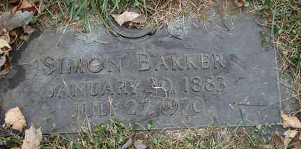 BAKKER, SIMON - Minnehaha County, South Dakota | SIMON BAKKER - South Dakota Gravestone Photos